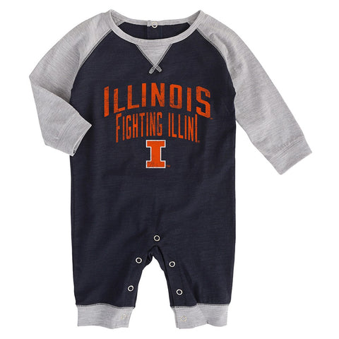 "Illinois Fighting Illini NCAA Newborn Black ""Proud Fan"" Long Sleeve Romper"