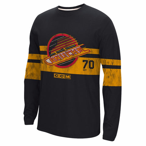 Vancouver Canucks CCM Retro Throwback Long Sleeve Distressed Crew Shirt Men's