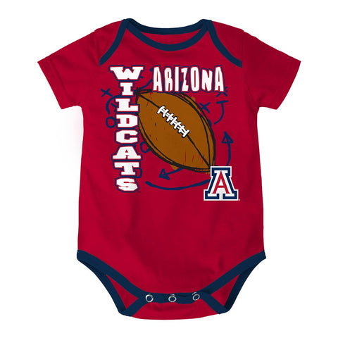 "Arizona Wildcats NCAA Infant Red/Navy/White ""3 Point Spread"" 3 Piece Creeper Set"