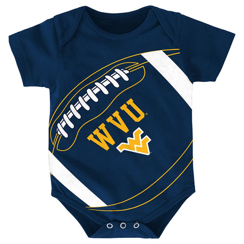 "West Virginia Mountaineers NCAA Infant Navy Blue ""Fanatic"" Football Creeper"