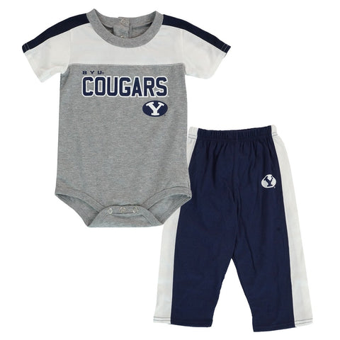 "BYU Cougars NCAA ""Horizon"" Grey Creeper & Pants Set Infant (12M-24M)"