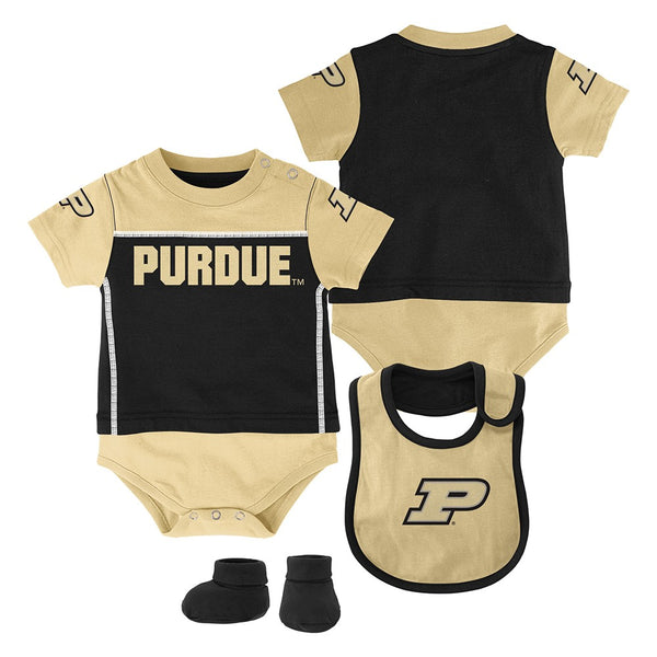 "Purdue Boilermakers NCAA Infant Black ""Lil Jersey"" Creeper, Bib & Bootie Set"