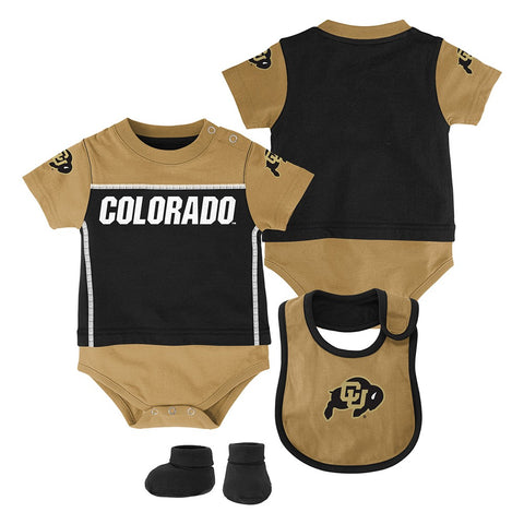 "Colorado Buffaloes NCAA Infant Black ""Lil Jersey"" Creeper, Bib & Bootie Set"