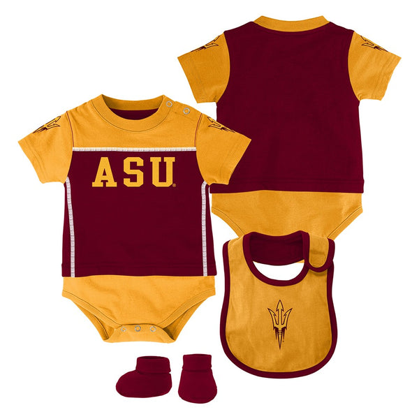 "Arizona State Sun Devils NCAA Infant Red ""Lil Jersey"" Creeper, Bib & Bootie Set"