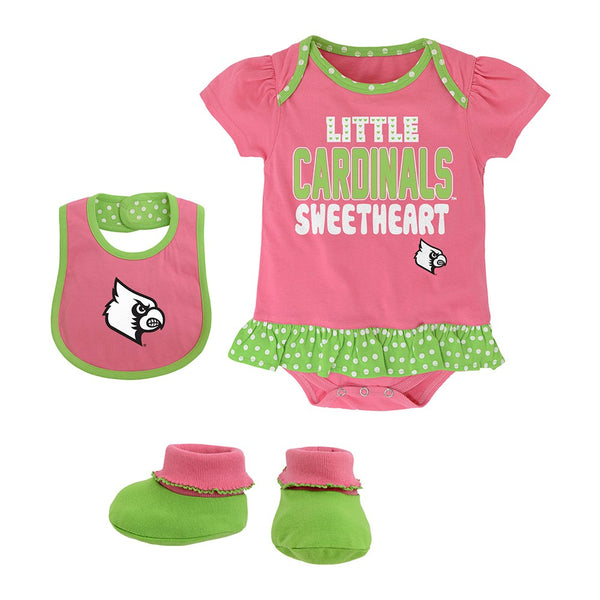 "Louisville Cardinals NCAA Infant Pink ""Little Sweet"" Creeper, Bib & Bootie Set"