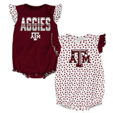 "Texas A&M Aggies NCAA Infant Maroon/White ""Polka Fan"" 2 Piece Creeper Set"