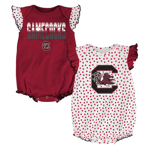 "South Carolina Gamecocks NCAA Infant ""Polka Fan"" 2 Piece Creeper Set"