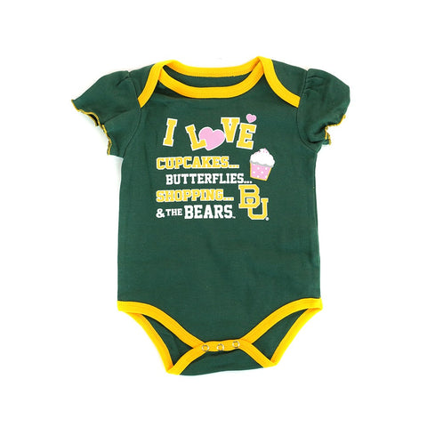 Baylor Bears NCAA Infant Green/Pink/White Frill 3 Piece Creeper Set