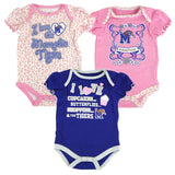 Memphis Tigers NCAA Infant Blue/Pink/White Frill 3 Piece Creeper Set