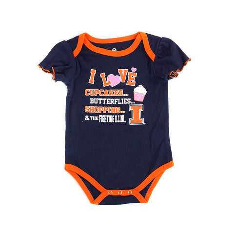 Illinois Fighting Illini NCAA Infant Navy/Pink/White Frill 3 Piece Creeper Set