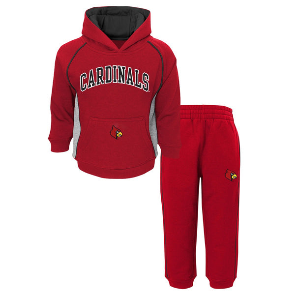 Louisville Cardinals NCAA Lil Fan Team Color Pullover Hoodie & Pants Set Toddler