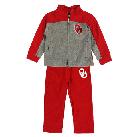 Oklahoma Sooners NCAA Red Full Zip Fleece Jacket & Pants Set Toddler (2T-4T)