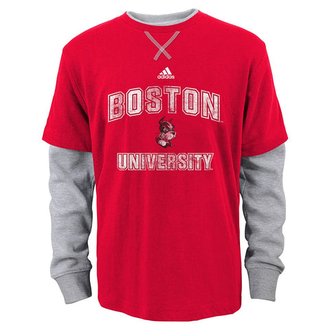 Boston University Terriers NCAA Adidas Toddler Red Faux Layer LS T-Shirt