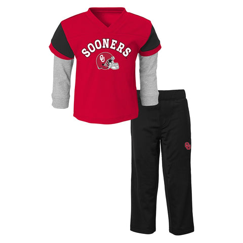Oklahoma Sooners NCAA Red Long Sleeve T-Shirt & Pants Set Toddler (2T-4T)