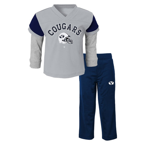 "BYU Cougars NCAA Grey ""Charger"" Long Sleeve T-Shirt & Pants Set Toddler (2T-4T)"