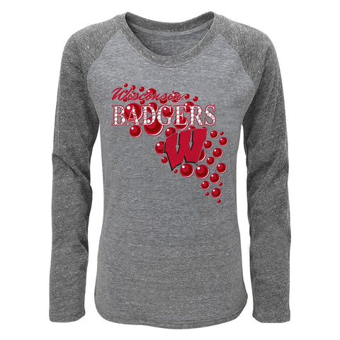 "Wisconsin Badgers Little Girls Grey ""Mother of Pearl"" Long Sleeve Raglan Shirt"