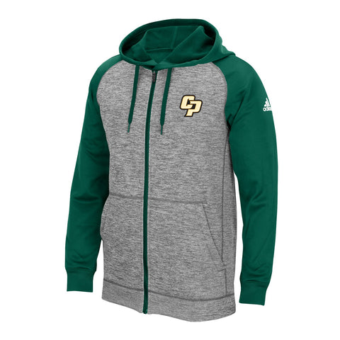 Cal Poly Mustangs NCAA Adidas Men's ClimaWarm Grey Fleece Hoodie