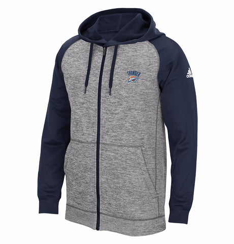 Oklahoma City Thunder NBA Men's Grey Team Issue Full Zip Climawarm Fleece Hoodie