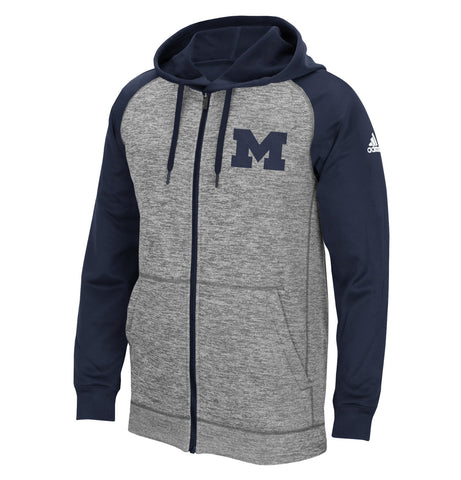 Michigan Wolverines NCAA Adidas Men's ClimaWarm Grey Full-Zip Fleece Hoodie