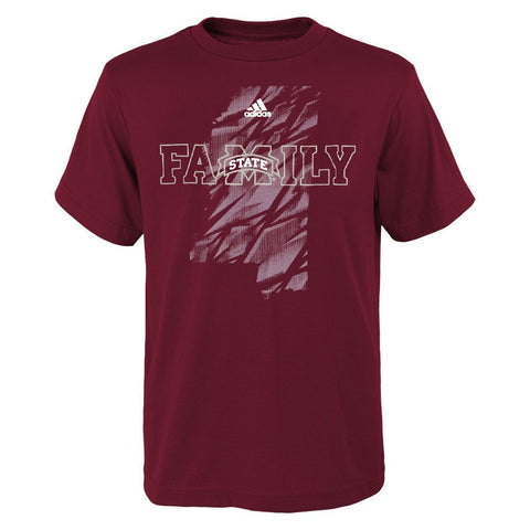 Mississippi State Bulldogs Adidas NCAA Boys Maroon Sideline Glory T-Shirt