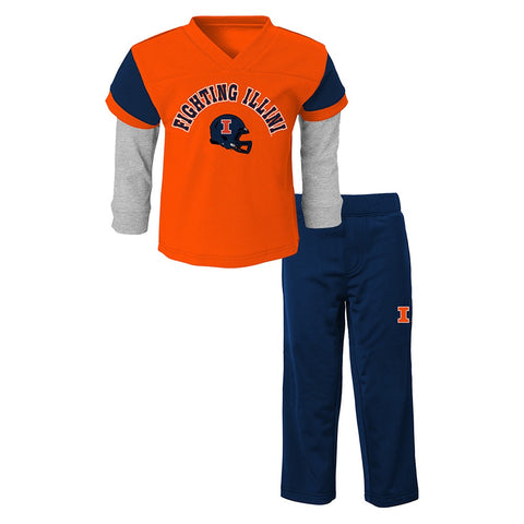 Illinois Fighting Illini NCAA Orange Long Sleeve T-Shirt & Pants Set Boys (4-7)