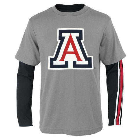 "Arizona Wildcats NCAA Boys Black/Grey ""Squad"" Long Sleeve/Short Shirt Set"