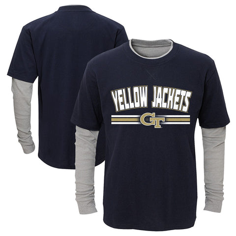"GA Tech Yellow Jackets Boys Navy ""Bleachers"" LS Faux Layer Thermal T-Shirt"