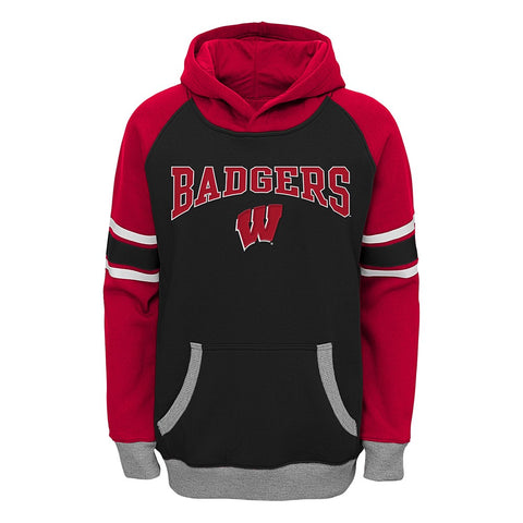 "Wisconsin Badgers NCAA ""Robust"" Premium Team Logo Pullover Hoodie Fleece Boys"