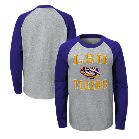 "LSU Tigers NCAA Boys Grey ""Constant"" Raglan Long Sleeve T-Shirt"