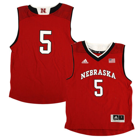 Nebraska Cornhuskers Adidas NCAA Boys #5 Away Red Basketball Jersey