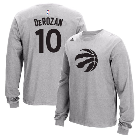 DeMar Derozan NBA Toronto Raptors Men's Grey Long Sleeve Jersey T-Shirt