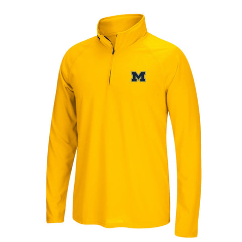 Michigan Wolverines NCAA Adidas Men's  Gold 1/4 Zip Ultimate 1/4 Zip Knit