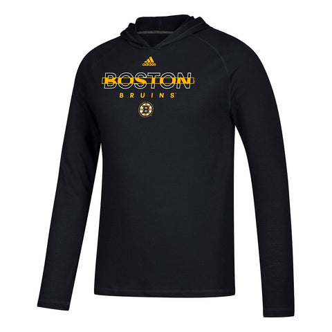 "Boston Bruins NHL Adidas Black ""Breakthrough"" L/S Hooded T-Shirt"