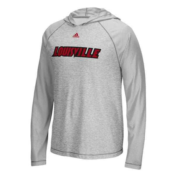"Louisville Cardinals NCAA Adidas Grey ""Mark My Words"" L/S Hooded T-Shirt"
