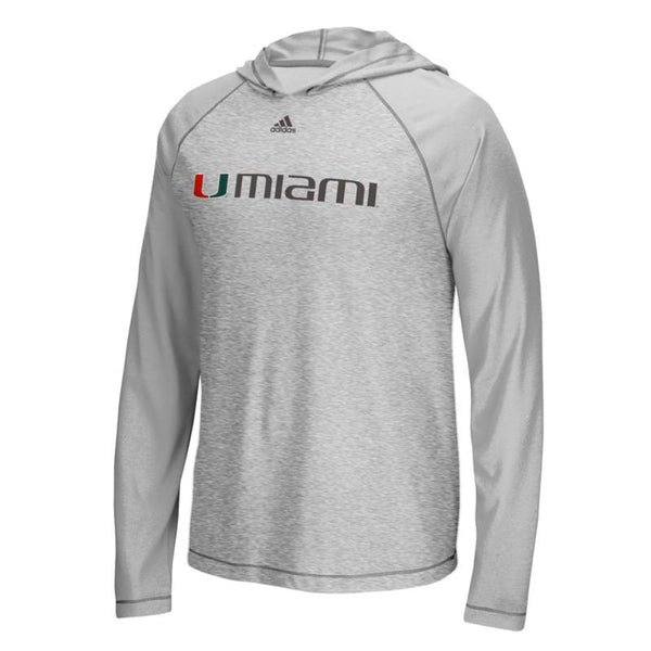 "Miami Hurricanes NCAA Adidas Grey ""Mark My Words"" L/S Hooded T-Shirt"