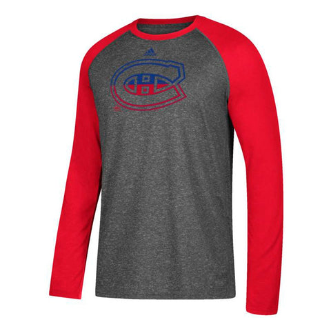 Montreal Canadiens NHL Adidas Men's Large Logo Fade Grey Climalite T-Shirt
