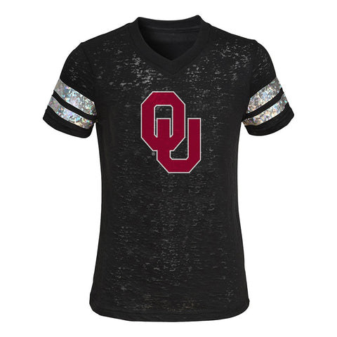 "Oklahoma Sooners NCAA Outerstuff Girls Black ""Team Shimmer"" Burnout T-Shirt"