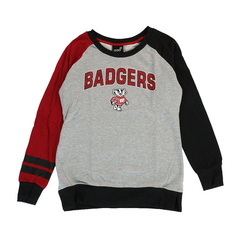Wisconsin Badgers NCAA Outerstuff Girls Grey Amethyst Crewneck Sweatshirt