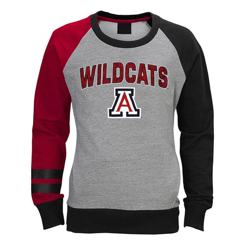 Arizona Wildcats NCAA Outerstuff Girls Grey Amethyst Crewneck Sweatshirt