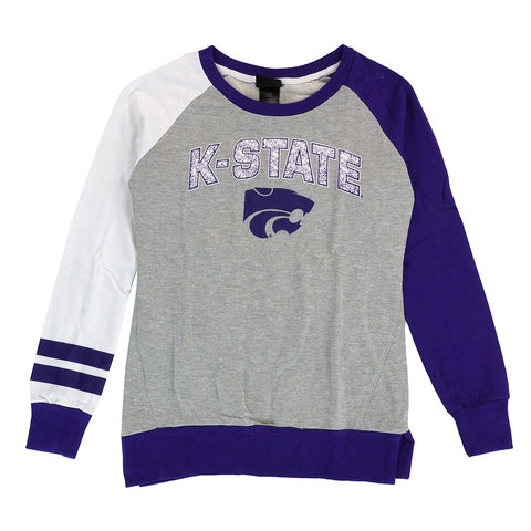 Kansas State Wildcats NCAA Outerstuff Girls Grey Amethyst Crewneck Sweatshirt