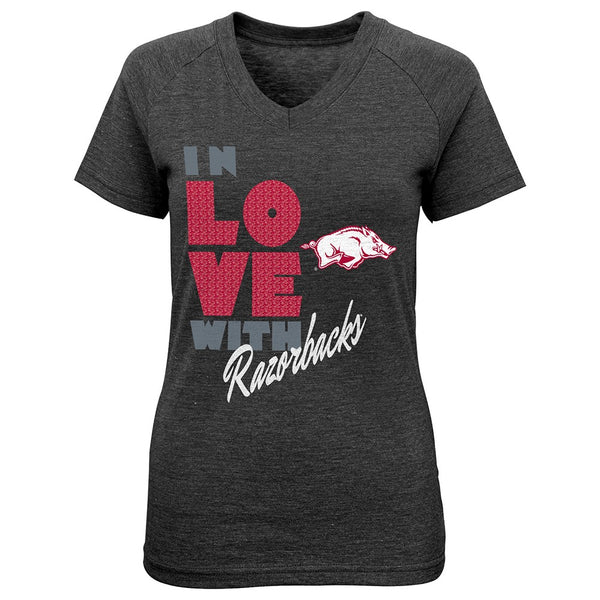 "Arkansas Razorbacks NCAA Girls Black ""Pave"" Tri-Blend V-Neck T-Shirt"