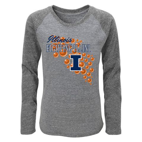 "Illinois Fighting Illini Girls Grey ""Mother of Pearl"" Long Sleeve Raglan T-Shirt"
