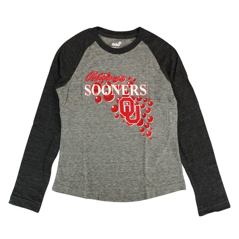 "Oklahoma Sooners Girls Grey ""Mother of Pearl"" Long Sleeve Raglan T-Shirt"