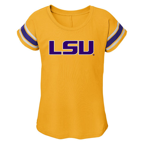 LSU Tigers NCAA Outerstuff Girls Gold Dolman T-Shirt