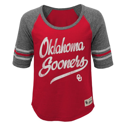 "Oklahoma Sooners NCAA Girls Red ""Hi-Lo"" Raglan Football T-Shirt"