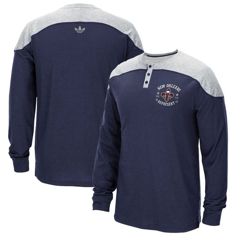 New Orleans Pelicans Men's Navy Adidas Originals Long Sleeve Crew Henley T-Shirt