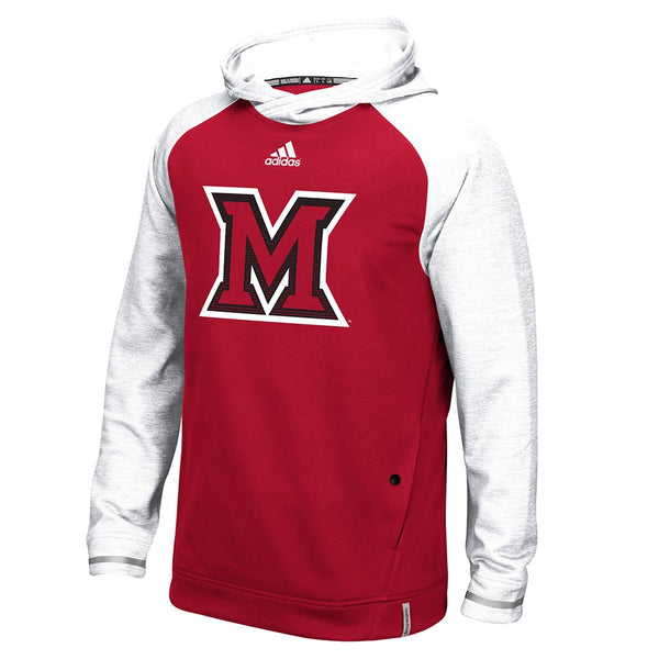 Miami RedHawks Adidas NCAA Men's Red Sideline Climawarm Performance Hoodie