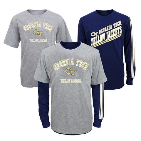 "GA Tech Yellow Jackets NCAA Youth ""Classic Fade"" Long Sleeve/Short Shirt Set"