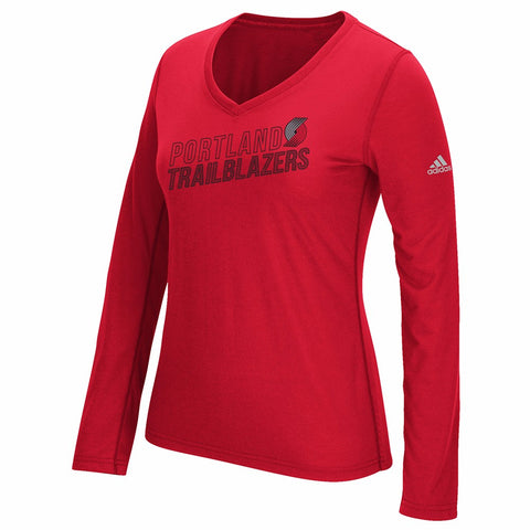 "Portland Trail Blazers NBA Womens Red ""Stacked Stripe Pattern"" Long Sleeve Shirt"