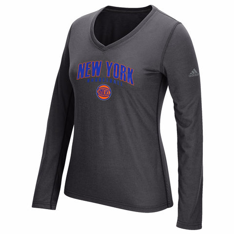 "New York Knicks NBA Womens Grey ""Double Arch Outline"" Ultimate Long Sleeve Shirt"